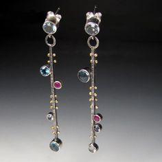 Sara Westermark: Byzantium Earrings No. 1, In sterling silver, 18k gold, blue topaz, London blue topaz, Swiss blue topaz, ruby, garnet, iolite, and rainbow moonstone.