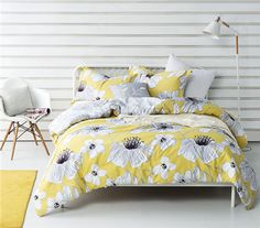 Brighten up your sleep space with the Buttercup Haze Comforter by Byourbed! Enjoy the (mellow) yellow background of this adorned with sketched flowers for fun and cute Yellow Comforter, Twin Xl Comforter, Bedding Sets Online, Luxury Bedding Sets, College Comforter, Dorm Bedding, Twin Bedroom Sets, King Bedroom, Bedroom Art