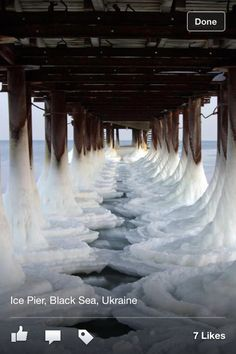 Ukraine, Black Sea; Icy Pier