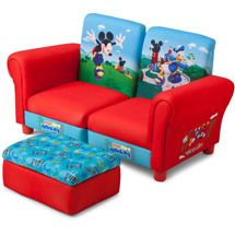 Disney - 3 Piece Upholstered Set, Mickey Mouse Connecting Sofa Couches and Ottoman Set Gaspard Mickey Mouse Room, Mickey Mouse Clubhouse, Disney Furniture, Toddler Rooms, Toy Rooms, Pillow Room, Baby Mouse, Best Sofa, Sofa Set