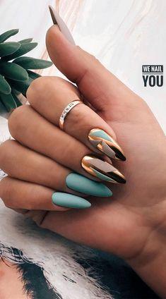 Gold Chrome Nails, Chrome Nails Designs, Coffin Nails Designs Summer, Chrome Nail Art, Gold Acrylic Nails, Green Nail Designs, Rose Gold Nails, Matte Green Nails, Bright Summer Acrylic Nails