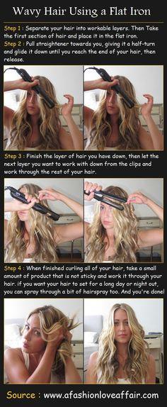 Wavy Hair Using a Flat Iron | Pinterest Tutorials