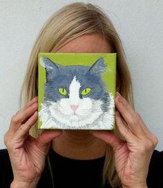 Original cat painting Custom cat portrait by PopArtPetPortraits,