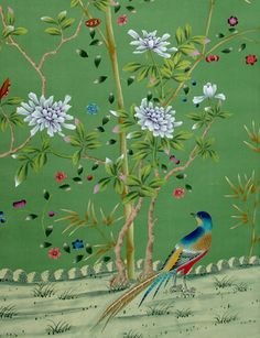 Is it possible to plaster this on every wall house?  (Lovely bright bird and flowers Hand Painted Wall Paper)