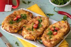 Mexické horúce sendviče Hungarian Recipes, Vegetable Pizza, Baked Potato, Tofu, Quiche, Mashed Potatoes, Hamburger, Grilling, Sandwiches