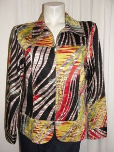 DRAPER'S & DAMONS Colorful Printed Stretch Cotton Long Sleeve Zip Jacket Size M #DrapersDamons #BasicJacket