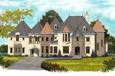 This lovely French style home with European influences (House Plan has 6072 square feet of living space. The 2 story floor plan includes 6 bedrooms. Luxury House Plans, Dream House Plans, House Floor Plans, European Plan, European Style, European House, Mountain House Plans, Plan Design, Luxury Homes