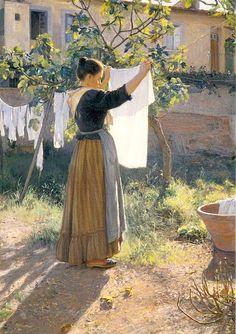 laundry - Elin Kleopatra Danielson-Gambogi (Finnish painter, A Sunny Day Laundry Art, Laundry Lines, Laundry Room, Illustration Art, Illustrations, Manet, Art Plastique, Beautiful Paintings, Love Art