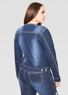 Stud Jewel Cut-Out Jean Jacket - Ashley Stewart