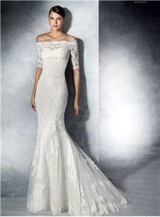 Off-The-Shoulder Zipper-Up Stunning Half-Sleeve Floor-Length Ivory Wedding Dress Bendigo