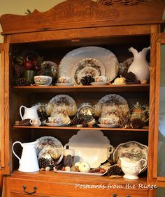 Postcards from the Ridge: Fall forward Fall inspired hutch with vintage dishes and ironstone