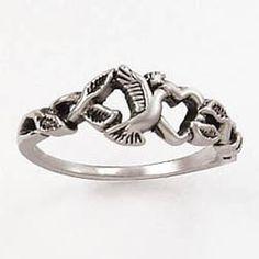 Dove heart leaves ladies christian Ring