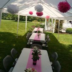 Bridal shower decoration... Table runner was an aisle runner folded in half, paper Pom poms, then flowers in mason jars & potted plants with matching ribbon.  Great for a backyard BBQ