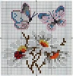 Flowers and butterflys cross stitch Butterfly Cross Stitch, Mini Cross Stitch, Beaded Cross Stitch, Cross Stitch Animals, Cross Stitch Flowers, Cross Stitch Embroidery, Embroidery Patterns, Cross Stitch Designs, Cross Stitch Patterns