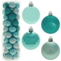 Co-ordinated Christmas Tree Baubles Decoration Pack - Turquoise Blue