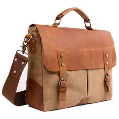 Brown Crazy Horse Leather Retro Vintage Briefcase Messenger Bag SKU-11408088