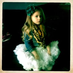 Little girl fashion/outfit, white petiskirt, jean jacket and leopard scarf