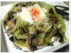 """Spaghetti"" zucchini with mushrooms and poached egg"
