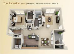 The Johnston. 1 Bed. 1 Bath. 989 sq ft.