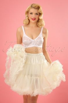 The Retro Short Chiffon Petticoat in Ivory by Bunny is a nice soft ivory coloured petticoat. If you like to add an extra accent with a little volume under your dress or skirt, then this is the perfect petticoat! Double layered with wide elastic a Vintage Underwear, Vintage Lingerie, Pretty Lingerie, Sheer Lingerie, Short Petticoat, Drag Queen Outfits, Simplicity Fashion, Girly Girl Outfits, Vintage Outfits