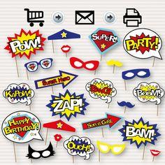 Superhero Photo Booth Printable Props  Superhero by SurpriseINC
