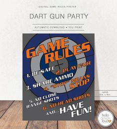 Dart Gun Game Rules, Dart Gun Party Game Decoration, Large Game Rules Printable Poster, Game Rules, Party Decor, Boy Birthday Party, DartGun Nerf Birthday Party, Nerf Party, Dad Birthday, Party Games, Party Party, Birthday Ideas, Nerf Cake, For Your Party, Party Planning