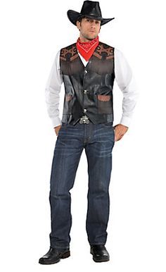 "Adult Cowboy Costume jeans, button-up, boots, cowboy hat, ""leather"" vest, western belt"