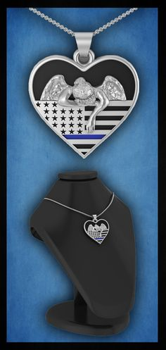 Stunning Sterling Silver or Gold Plate Angel weeping over the Thin Blue Line. Absolutely Gorgeous  See it here: http://www.shineon.com/products/honor-the-fallen-thin-blue-line.