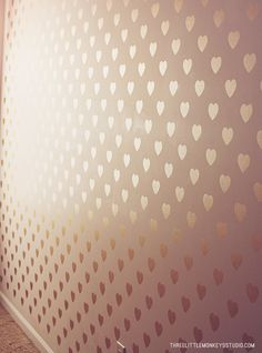 #DIY Metallic Heart Feature Wall with Modern Masters Pale Gold | Girls Room Wall | Three Little Monkeys Studio