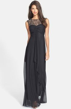 Hailey by Adrianna Papell Lace Yoke Twist Front Gown #papell #lace #black #dress #gown