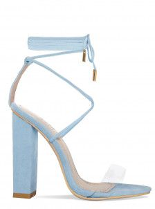e60720858d Lace Up Heels: Strappy Lace Up Heeled Ankle Boots & Shoes. Light Blue ...