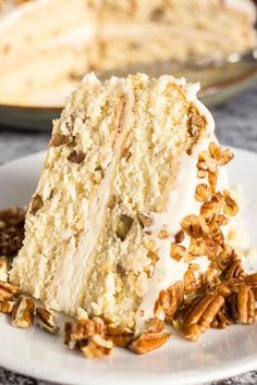 Butter Pecan Cake with Buttercream is an easy to make homemade layered cake. A classic moist white cake with butter toasted pecans and rich buttercream frosting. Easy Desserts, Delicious Desserts, Dessert Recipes, Homemade Cake Recipes, Baking Recipes, Cookbook Recipes, Easy Homemade Cake, Pecan Recipes, Homemade Breads
