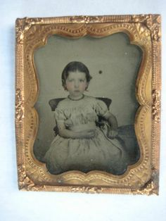 1850's 1 9P Ambrotype Cute Little Girl in Gingham Dress Flesh Tones No Case | eBay