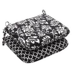 @Overstock - Add a touch of comfort and style to your patio decor with this set of lovely black and white seat cushions. Resistant to weather and harmful ultraviolet light, these square cushions are sure to delight for years.http://www.overstock.com/Home-Garden/Outdoor-Black-and-White-Floral-Rounded-Reversible-Seat-Cushion-Set-of-2/6507456/product.html?CID=214117 $38.57