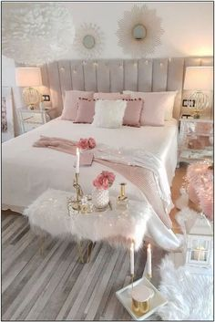 Cozy Romantic Bedroom decor with wide channel tufted bed and pink accents. White and pink bedroom Decor cozy romantic Cozy Romantic Bedroom Decor Romantic Bedroom Decor, Cute Bedroom Ideas, Cute Room Decor, Room Ideas Bedroom, Girl Bedroom Designs, Small Room Bedroom, Modern Bedroom, Master Bedroom, Contemporary Bedroom