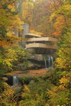 """Nature Architecture Photography """"Fallingwater in Autumn"""" Frank Lloyd Wright House Photograph - Fall Landscape Photo by Nathan Trivette"""