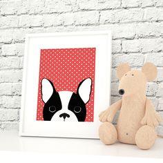 Boston Terrier Print, Printable Nursery Art, Animal Print, Dog Print, Dog Art, Dog Poster, Digital art, baby room prints, Choolly