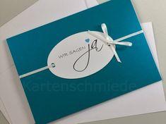 Einladungskarten Hochzeit in Petrol von Kartenschmiede auf DaWanda.com