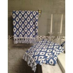 Update your bathroom decor with these printed bath towels from Dena Home Madison Collection, featuring a beautiful ikat pattern in bold blue. The classic design is given a fresh, modern twist that will refresh the feel of any bathroom in your home.
