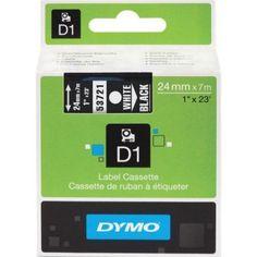 DYO53721 Dymo, D1 Labeling Tape, 1 inch X 23' Black Tape, White Print