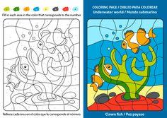 Dibujos infantiles para colorear y aprender inglés, Dibujo de un Pez Payaso, Clown fish Clown Fish, Underwater World, Coloring Pages, Free Coloring Pages, Clownfish, Clowns, Colors, Learning English, Pages To Color
