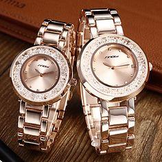 Paar: Rollende Diamante runden Zifferblatt Steel Band Quarz Analog Armbanduhr (Rose Gold) – RUB p. 2 606,48