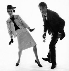 Actor Peter O'Toole dances with Isabella Albonico wearing a white Davidow suit, photo by Bert Stern, February 1, 1963
