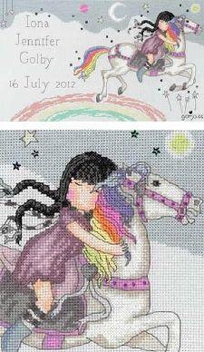 Girl with Braids on Horse w/rainbow hair  Gorjuss; The Runaway Cross Stitch Kit XG10