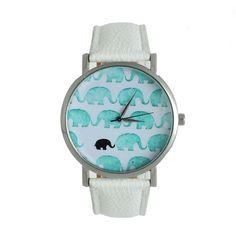 Teen elephants display cool unisex white watch