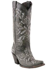 "Women's Grey Oklahoma Calf ""Studded Angelina"" Boots"