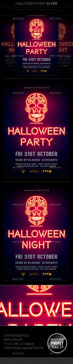 Halloween Flyer — Photoshop PSD #party #holiday • Available here → https://graphicriver.net/item/halloween-flyer/18163657?ref=pxcr