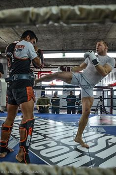 Tiger trainers were flown out to Montreal to train none other than Georges St. Pierre - UFC welterweight champion! Here they are training him for UFC 158 against Diaz! So proud.