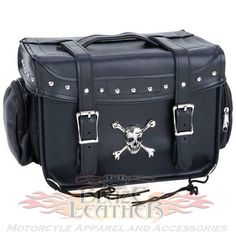 Diamond Plate MED Hard Skull Crossbone Motorcycle Sissy Bar Trunk Bag is made of heavy waterproof PVC for extra durability and ensures you have plenty of room for storage for your travel gear that mounts on your sissy bar with easy on / off quick release buckles and rear velcro straps in a combination trunk bar or cooler style in a universal fit for most Harley and cruiser style motorcycles.