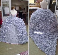 An art student in the UK did this piece for her final. A wedding dress completely made out of divorce papers.